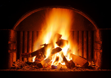 stone fireplace: Fireplace outdoor Stock Photo