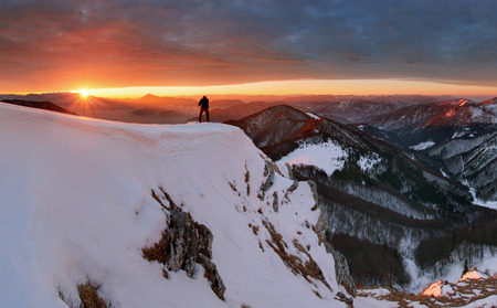 majestic: Winter mountains landscape at sunrise, panorama