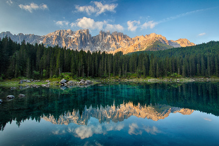 Lake with mountain forest landscape, Lago di Carezza