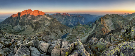 Tatras - Gerlach peak at sunrise, mountain panoramas