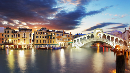 rialto bridge: Rialto Bridge at sunset, Venice, Italy Stock Photo