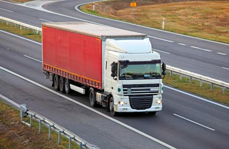 trucking: Truck on highway, trucking Stock Photo
