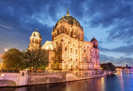 Berliner dom, Berlin cathedral at night, Germany