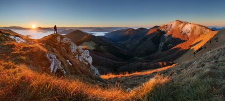Mountain panorama before sunrise in Slovakia
