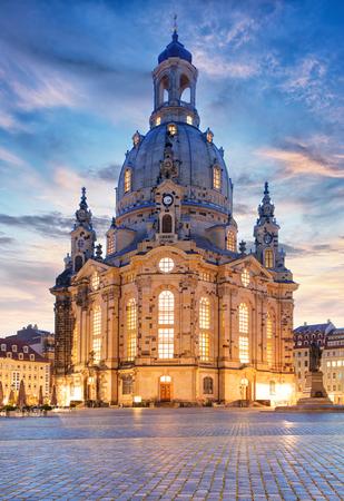 frauenkirche: Lutheran church Dresden Frauenkirche in Dresden at night, Germany