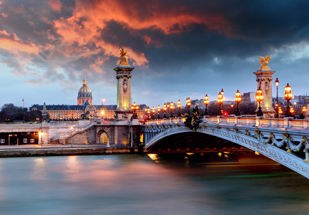 paris at night: Alexandre 3 Bridge, Paris, France