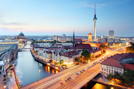 or spree: Berlin skyline Stock Photo