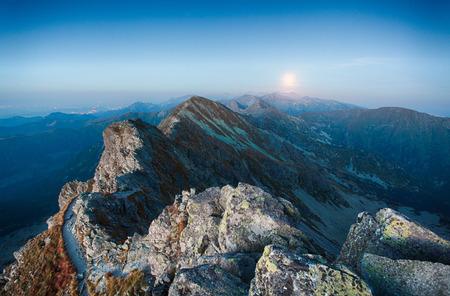 夜山 - スロバキアのタトラ山脈 写真素材