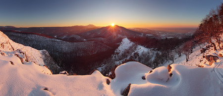 wintry landscape: Winter sunset in mountain panorama - Slovakia
