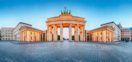 panorama: Brandenburger Tor Brandenburg Gate panorama, famous landmark in Berlin Germany at night