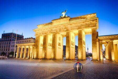 brandenburg: Floodlit Brandenburg Gate in Berlin - Symbol of Germany. Stock Photo