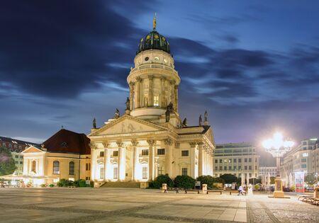 evening church: New Church Deutscher Dom or German Cathedral on Gendarmenmarkt in the evening