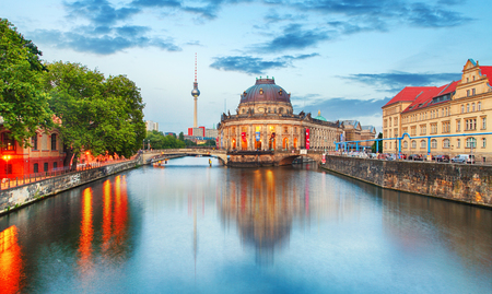 spree: Museum island on Spree river and Alexanderplatz TV tower in center of Berlin, Germany