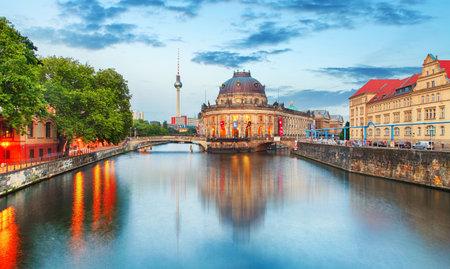 alexander: Museum island on Spree river and Alexanderplatz TV tower in center of Berlin, Germany