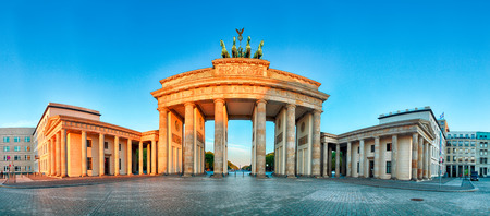 brandenburg: Panorama of Brandenburg Gate during the sunrise in Berlin, Germany