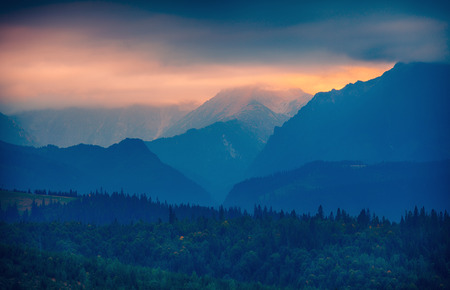 tatras: Sunset over Tatras mountain silhouette, Slovakia
