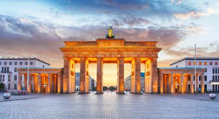 statue: Berlin - Brandenburg Gate at night Stock Photo