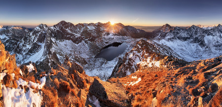 forest park: Mountain panorama at winter fall in Slovakia Tatras