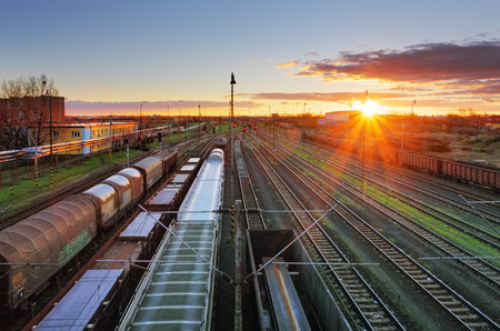 goods train: Cargo Transportation - Train Stock Photo