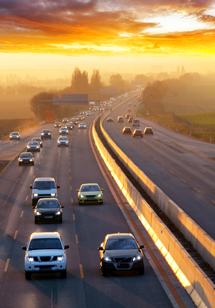 highway traffic: Traffic on highway with cars. Stock Photo
