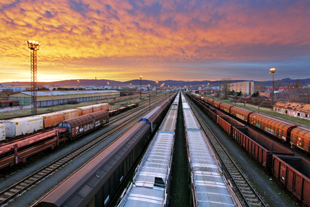 goods train: Train freight - Cargo railroad industry