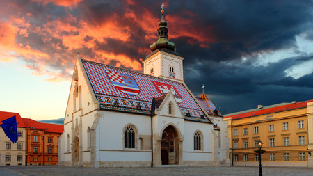 st mark's square: Church at night in Zagreb, Croatia