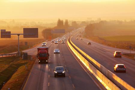 highway traffic: Highway Traffic at Sunset.