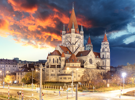 st francis: St. Francis of Assisi Church in Vienna, Austria at night Stock Photo