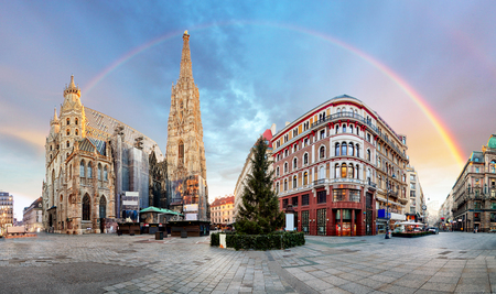Panorama od Vienna square with rainbow - Stephens cathedral, nobody Reklamní fotografie - 49970605