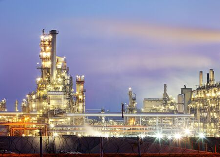 oil and gas: Petrochemical plant at night, oil and gas industrial