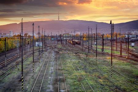 dreary: Train railway tracks at sunset, Bratislava.