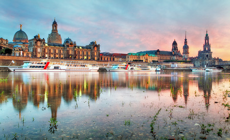 historic world event: The old town of Dresden with the Hofkirche Stock Photo