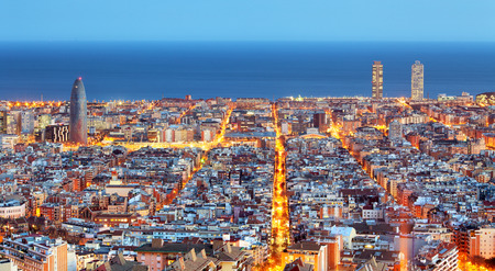 aerial: Barcelona skyline, Aerial view at night, Spain