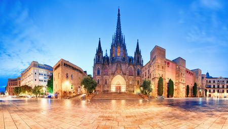 夜では、ゴシック様式の街、バルセロナの大聖堂のパノラマ。