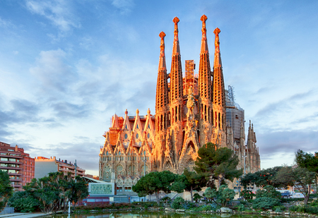 blue church: BARCELONA, SPAIN - FEBRUARY 10: La Sagrada Familia - the impressive cathedral designed by Gaudi, which is being build since 19 March 1882 and is not finished yet February 10, 2016 in Barcelona, Spain.