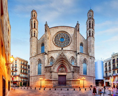 city people: Santa Maria del Mar church in Barcelona