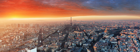 Panorama of Paris at sunset, cityscape Banco de Imagens