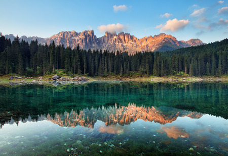 lago: Lake with mountain forest landscape, Lago di Carezza