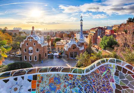バルセロナ - スペイン、グエル公園 写真素材