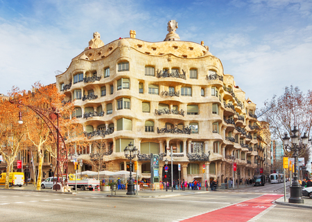 BARCELONA, SPAIN - FEBRUARY 9 Architecture detail of Casa Mila, better known as La Pedrera, designed by Antoni Gaudi, in Barcelona, Spain, on Ferbuary 9, 2016. Editorial