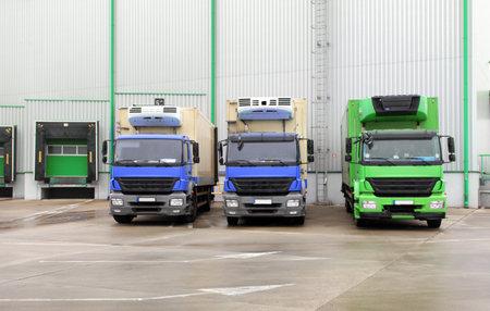 loading bay: Truck in unloading in warehouse