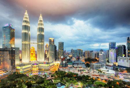 urban road: Kuala Lumper skyline at twilight, Malaysia