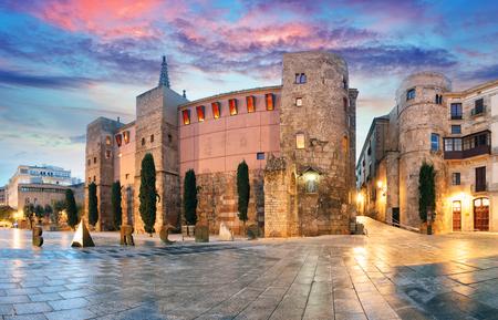 Panorama of Ancient Roman Gate and Placa Nova, Barri Gothic Quarter, Barcelona, Spain