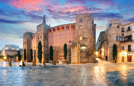 gothic: Panorama of Ancient Roman Gate and Placa Nova, Barri Gothic Quarter, Barcelona, Spain