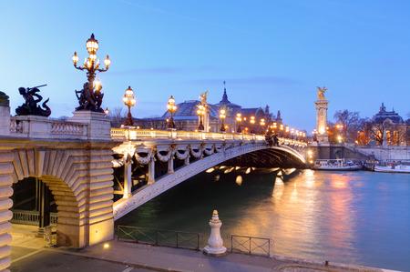 palais: Pont Alexandre III and Grand Palais at dusk, Paris.