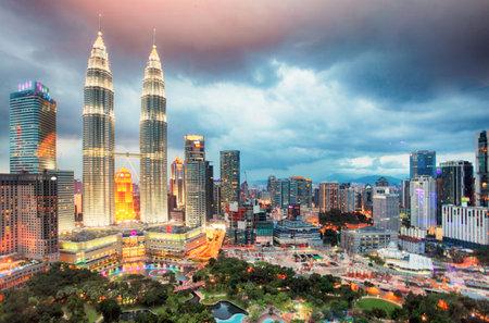 Kuala Lumper skyline at twilight, Malaysia