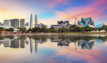 Kuala Lumpur, Malaysia skyline at Titiwangsa Park.
