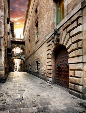 Barri Gothic Quarter and Bridge of Sighs in Barcelona, Catalonia, Spain Stock Photo