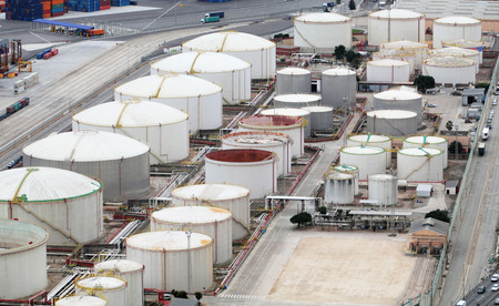 gad: Oil and gad storage tank in refinery Stock Photo