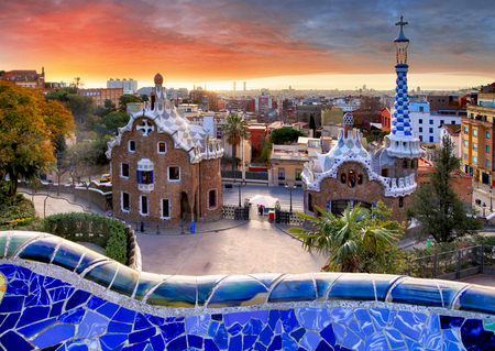 Barcelona, Park Guell Stockfoto